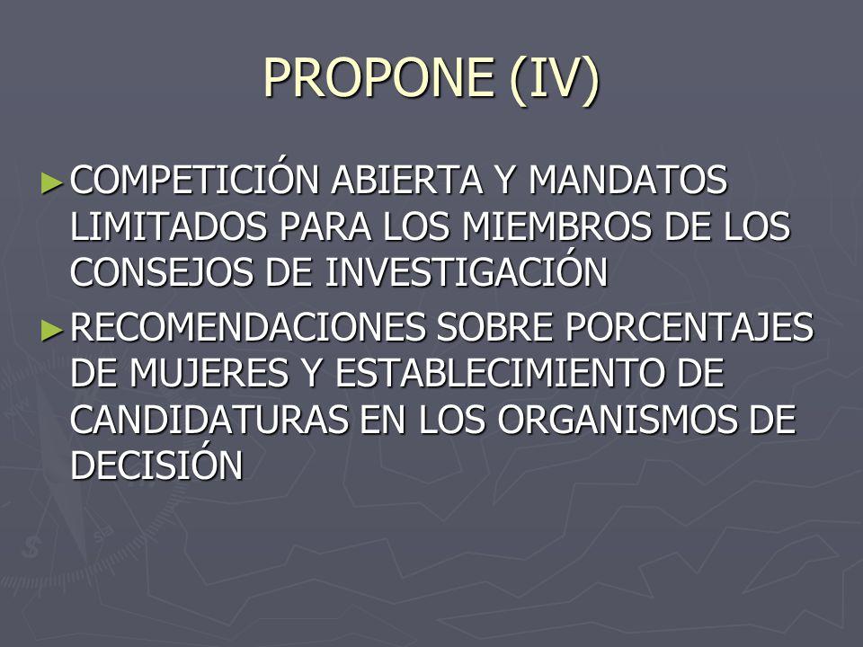 PROPONE (IV) COMPETICIÓN ABIERTA Y MANDATOS LIMITADOS PARA LOS MIEMBROS DE LOS CONSEJOS DE INVESTIGACIÓN COMPETICIÓN ABIERTA Y MANDATOS LIMITADOS PARA