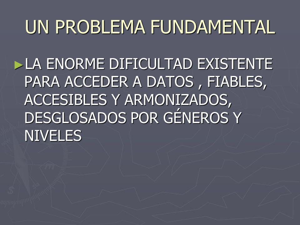 UN PROBLEMA FUNDAMENTAL LA ENORME DIFICULTAD EXISTENTE PARA ACCEDER A DATOS, FIABLES, ACCESIBLES Y ARMONIZADOS, DESGLOSADOS POR GÉNEROS Y NIVELES LA ENORME DIFICULTAD EXISTENTE PARA ACCEDER A DATOS, FIABLES, ACCESIBLES Y ARMONIZADOS, DESGLOSADOS POR GÉNEROS Y NIVELES
