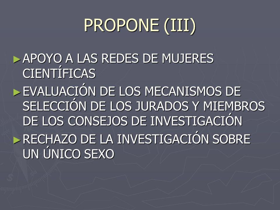 PROPONE (III) APOYO A LAS REDES DE MUJERES CIENTÍFICAS APOYO A LAS REDES DE MUJERES CIENTÍFICAS EVALUACIÓN DE LOS MECANISMOS DE SELECCIÓN DE LOS JURADOS Y MIEMBROS DE LOS CONSEJOS DE INVESTIGACIÓN EVALUACIÓN DE LOS MECANISMOS DE SELECCIÓN DE LOS JURADOS Y MIEMBROS DE LOS CONSEJOS DE INVESTIGACIÓN RECHAZO DE LA INVESTIGACIÓN SOBRE UN ÚNICO SEXO RECHAZO DE LA INVESTIGACIÓN SOBRE UN ÚNICO SEXO