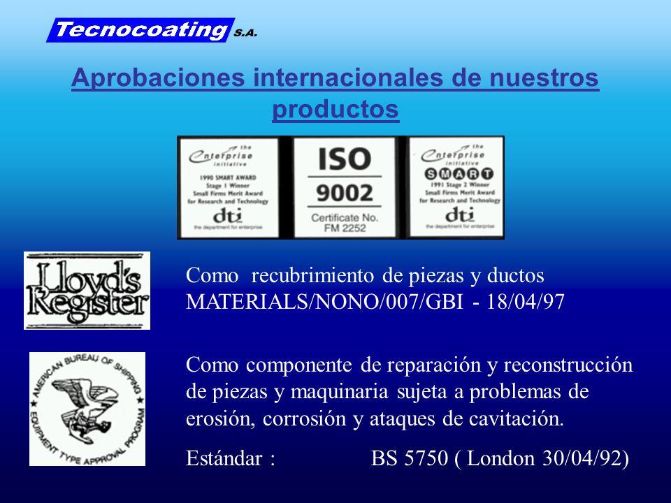 Como recubrimiento de piezas y ductos MATERIALS/NONO/007/GBI - 18/04/97 Como componente de reparación y reconstrucción de piezas y maquinaria sujeta a