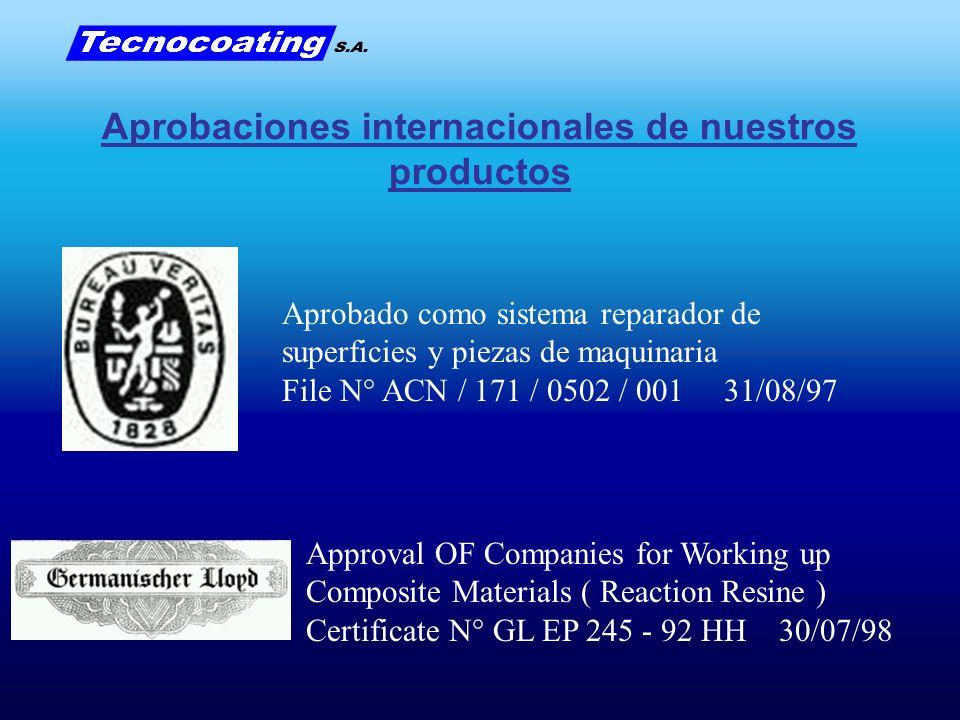 Aprobado como sistema reparador de superficies y piezas de maquinaria File N° ACN / 171 / 0502 / 001 31/08/97 Approval OF Companies for Working up Com