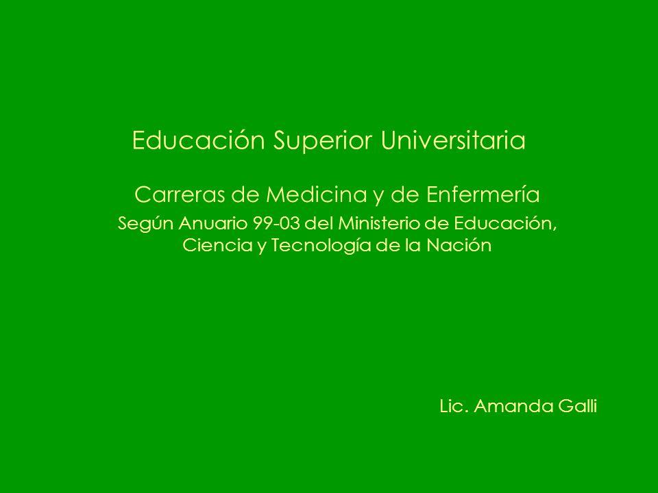 Educación Superior Universitaria Carreras de Medicina y de Enfermería Según Anuario 99-03 del Ministerio de Educación, Ciencia y Tecnología de la Nación Lic.