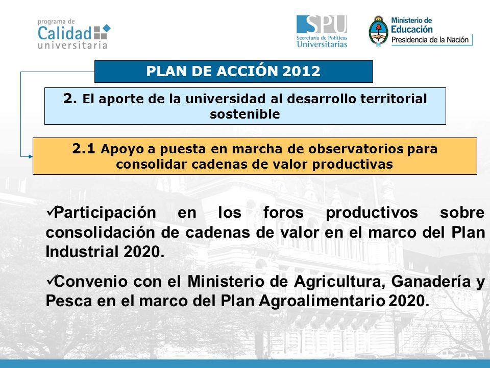 PLAN DE ACCIÓN 2012 2.1 Apoyo a puesta en marcha de observatorios para consolidar cadenas de valor productivas Participación en los foros productivos sobre consolidación de cadenas de valor en el marco del Plan Industrial 2020.