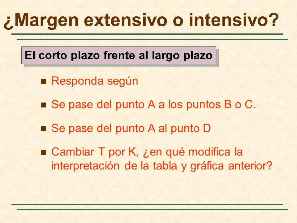 Responda según Se pase del punto A a los puntos B o C. Se pase del punto A al punto D Cambiar T por K, ¿en qué modifica la interpretación de la tabla