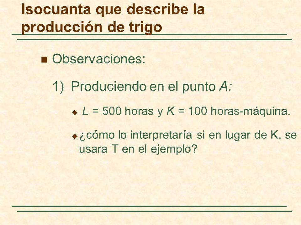 Observaciones: 1)Produciendo en el punto A: L = 500 horas y K = 100 horas-máquina. ¿cómo lo interpretaría si en lugar de K, se usara T en el ejemplo?