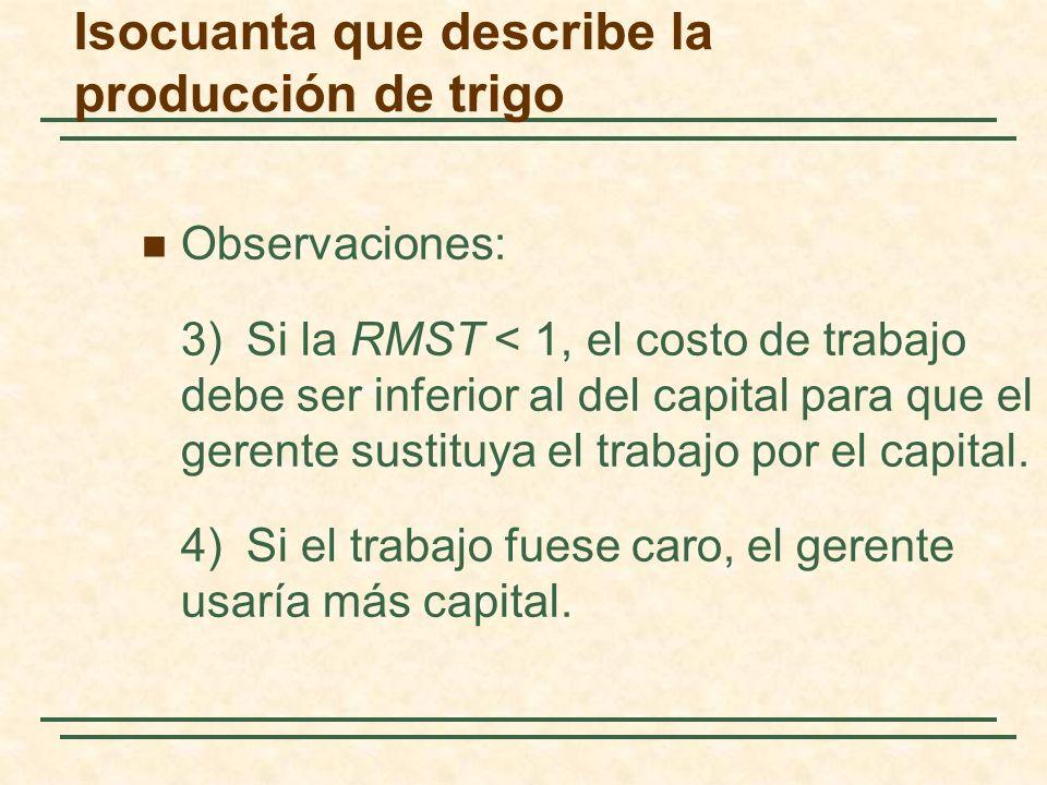 Observaciones: 3)Si la RMST < 1, el costo de trabajo debe ser inferior al del capital para que el gerente sustituya el trabajo por el capital. 4)Si el