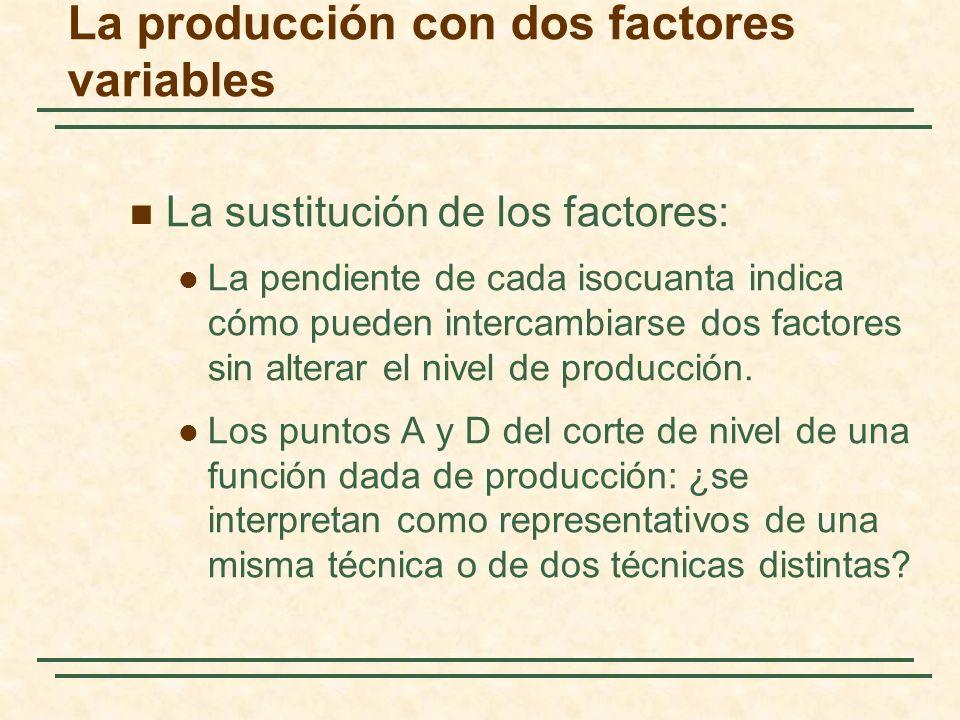 La sustitución de los factores: La pendiente de cada isocuanta indica cómo pueden intercambiarse dos factores sin alterar el nivel de producción. Los