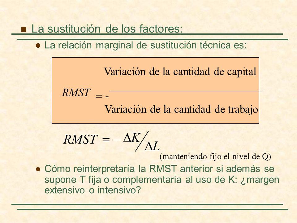 La sustitución de los factores: La relación marginal de sustitución técnica es: Cómo reinterpretaría la RMST anterior si además se supone T fija o com