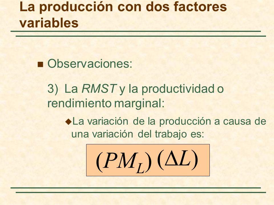 Observaciones: 3)La RMST y la productividad o rendimiento marginal: La variación de la producción a causa de una variación del trabajo es: (PM L ) ( L