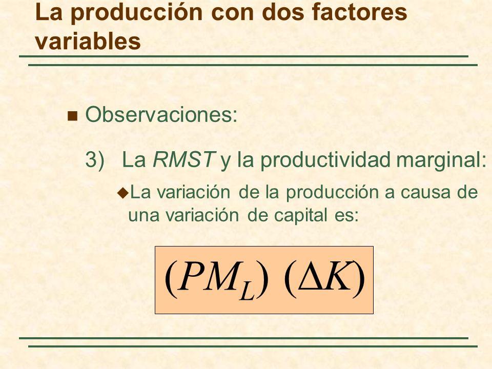Observaciones: 3) La RMST y la productividad marginal: La variación de la producción a causa de una variación de capital es: (PM L ) ( K) La producció
