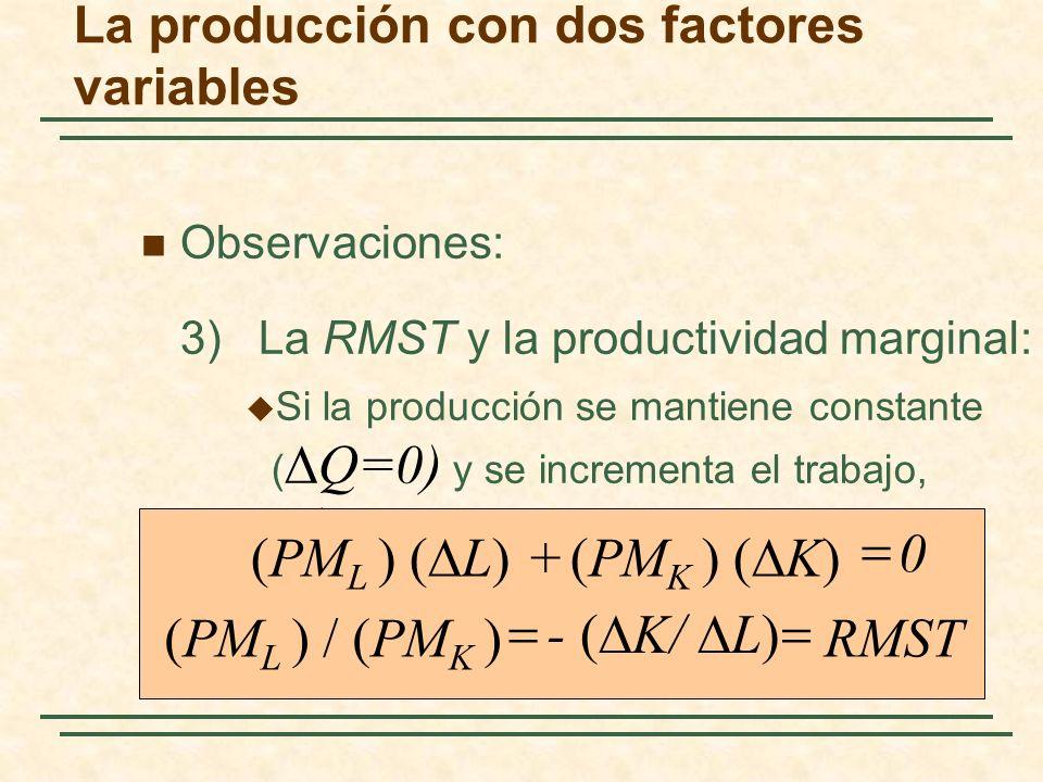 Observaciones: 3) La RMST y la productividad marginal: Si la producción se mantiene constante ( Q=0) y se incrementa el trabajo, entonces: La producci