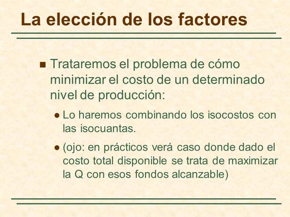 La elección de los factores Trataremos el problema de cómo minimizar el costo de un determinado nivel de producción: Lo haremos combinando los isocost