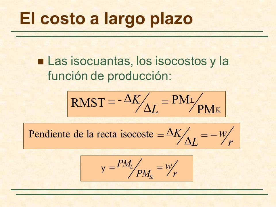 El costo a largo plazo Las isocuantas, los isocostos y la función de producción: K L PM - RMST L K r w L K Pendiente de la recta isocoste r w PM K L y