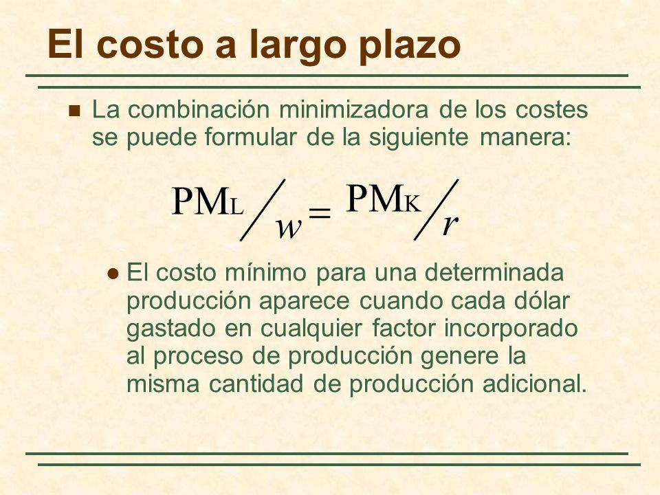 El costo a largo plazo La combinación minimizadora de los costes se puede formular de la siguiente manera: El costo mínimo para una determinada produc