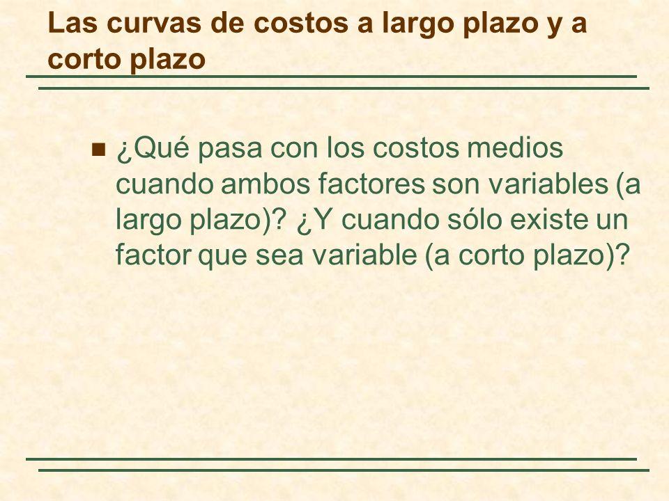Las curvas de costos a largo plazo y a corto plazo ¿Qué pasa con los costos medios cuando ambos factores son variables (a largo plazo)? ¿Y cuando sólo