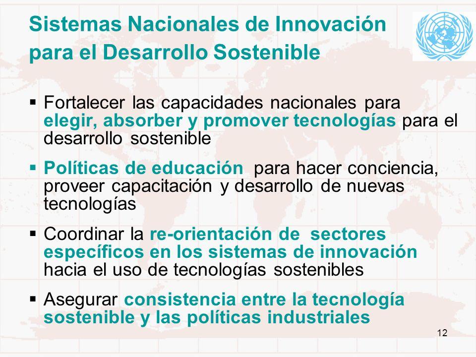 12 Sistemas Nacionales de Innovación para el Desarrollo Sostenible Fortalecer las capacidades nacionales para elegir, absorber y promover tecnologías