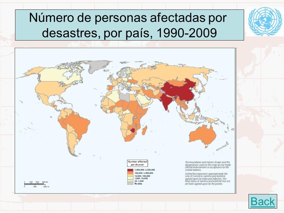 23 Número de personas afectadas por desastres, por país, 1990-2009 Back