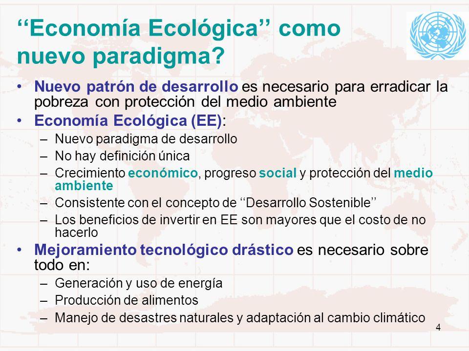 4 Economía Ecológica como nuevo paradigma? Nuevo patrón de desarrollo es necesario para erradicar la pobreza con protección del medio ambiente Economí