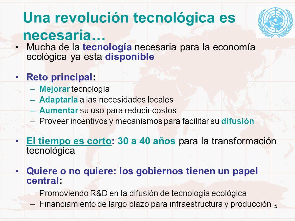 5 Una revolución tecnológica es necesaria… Mucha de la tecnología necesaria para la economía ecológica ya esta disponible Reto principal: –Mejorar tec