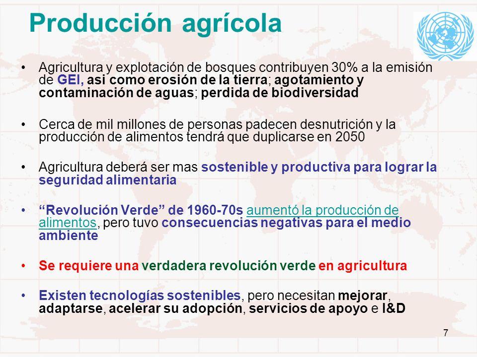 7 Producción agrícola Agricultura y explotación de bosques contribuyen 30% a la emisión de GEI, asi como erosión de la tierra; agotamiento y contamina