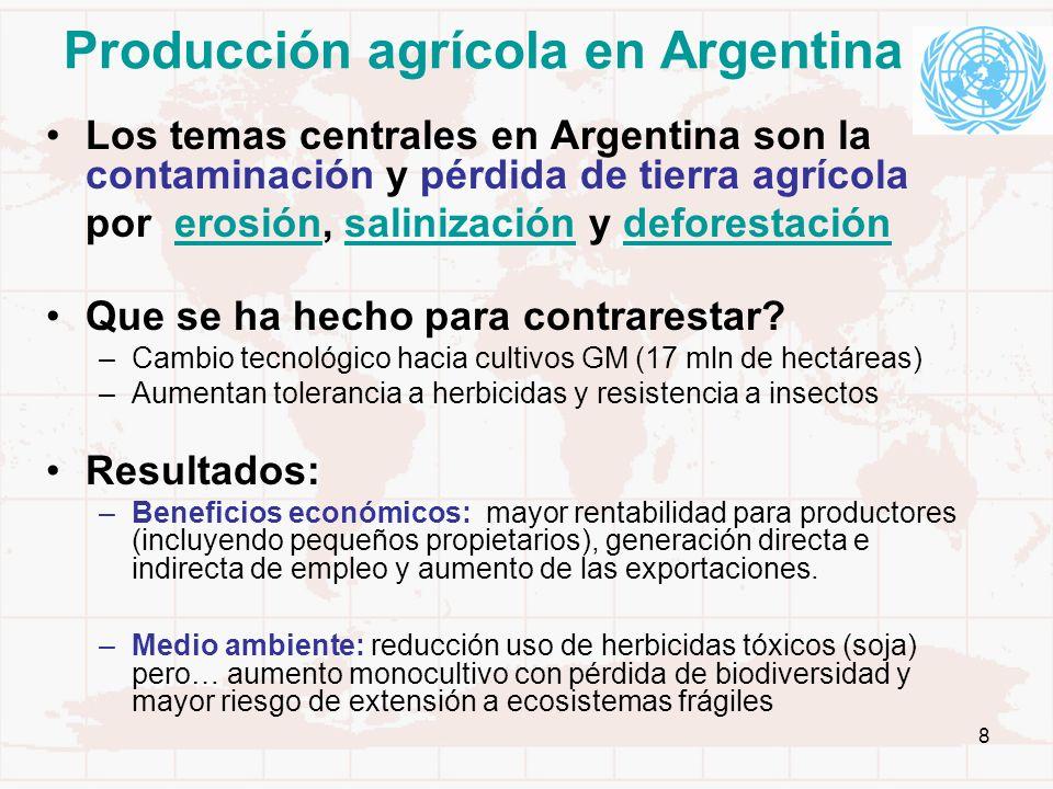 8 Producción agrícola en Argentina Los temas centrales en Argentina son la contaminación y pérdida de tierra agrícola por erosión, salinización y defo