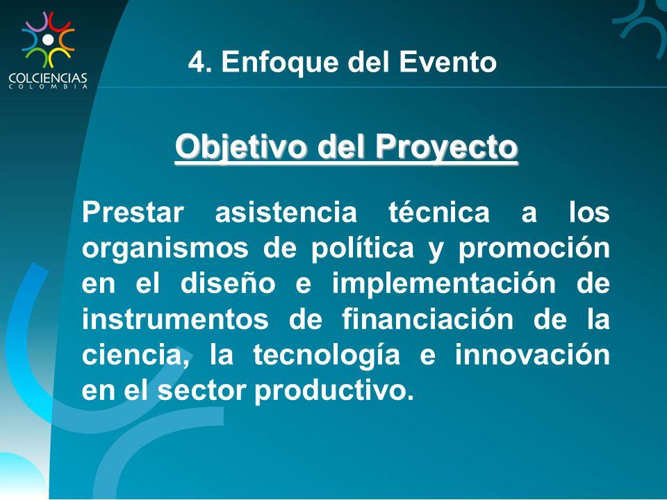 Objetivo del Proyecto Prestar asistencia técnica a los organismos de política y promoción en el diseño e implementación de instrumentos de financiació