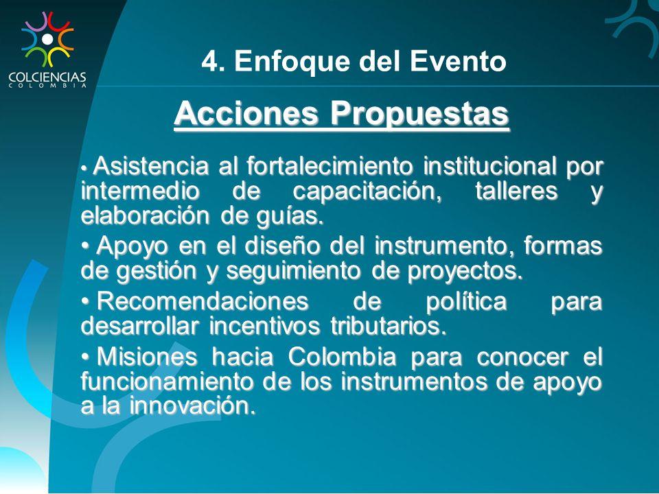Acciones Propuestas Asistencia al fortalecimiento institucional por intermedio de capacitación, talleres y elaboración de guías. Asistencia al fortale