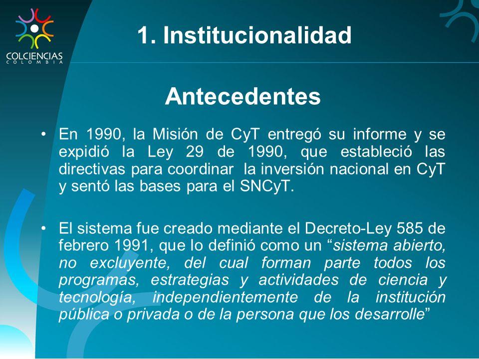Antecedentes En 1990, la Misión de CyT entregó su informe y se expidió la Ley 29 de 1990, que estableció las directivas para coordinar la inversión na