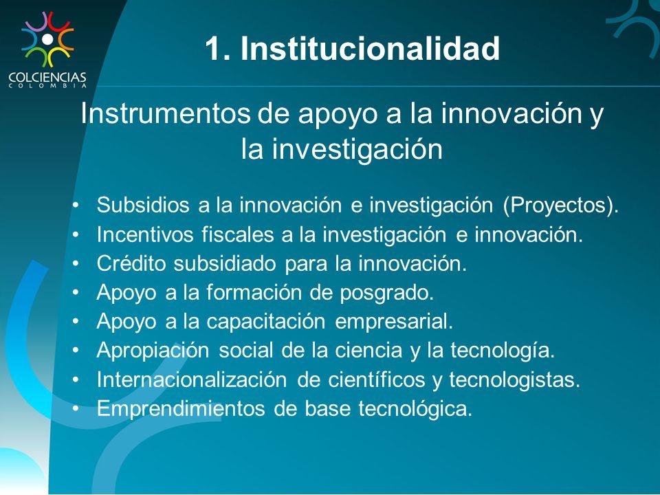 Instrumentos de apoyo a la innovación y la investigación Subsidios a la innovación e investigación (Proyectos). Incentivos fiscales a la investigación