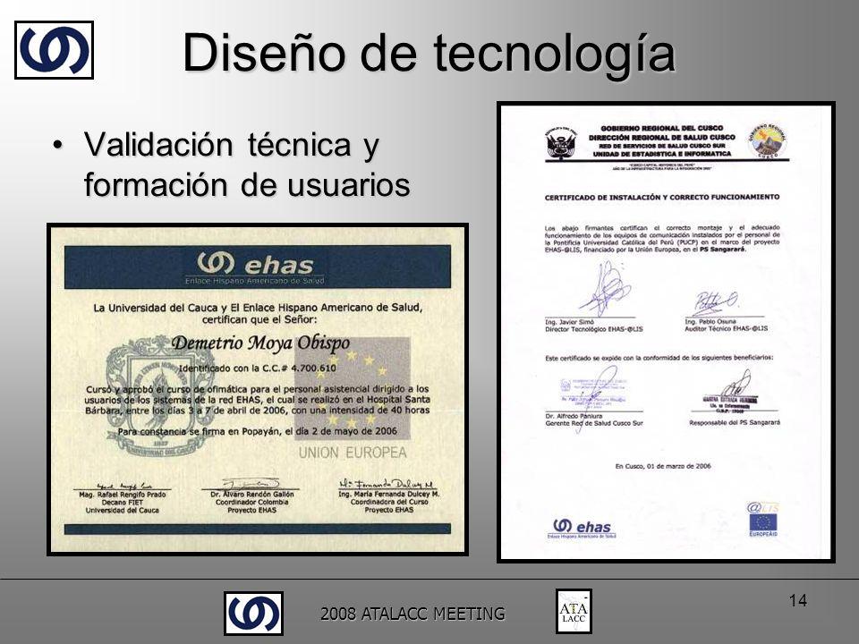 2008 ATALACC MEETING 14 Diseño de tecnología Validación técnica y formación de usuariosValidación técnica y formación de usuarios