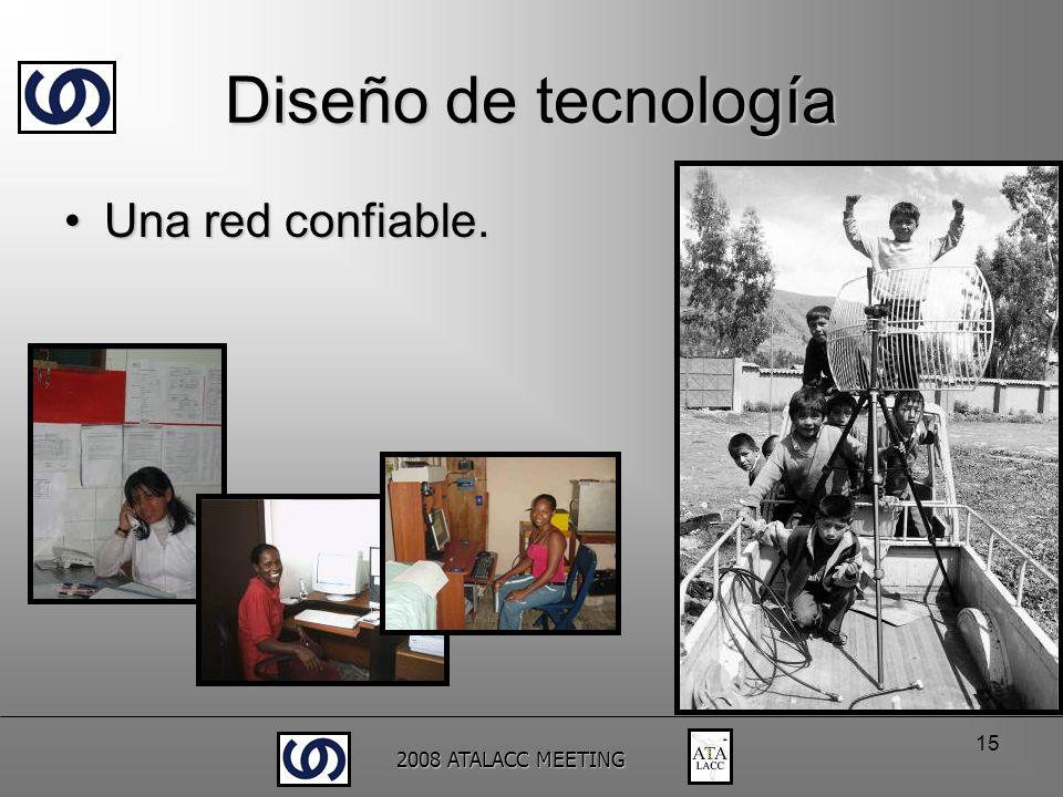 2008 ATALACC MEETING 15 Diseño de tecnología Una red confiable.Una red confiable.