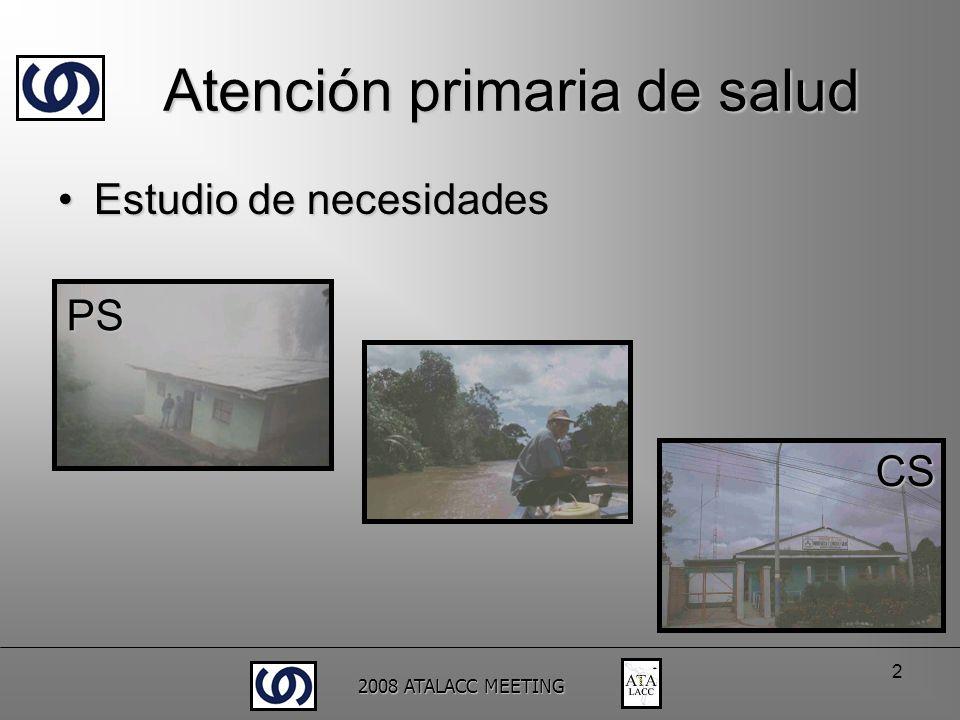 2008 ATALACC MEETING 2 Estudio de necesidadesEstudio de necesidades PS CS Atención primaria de salud