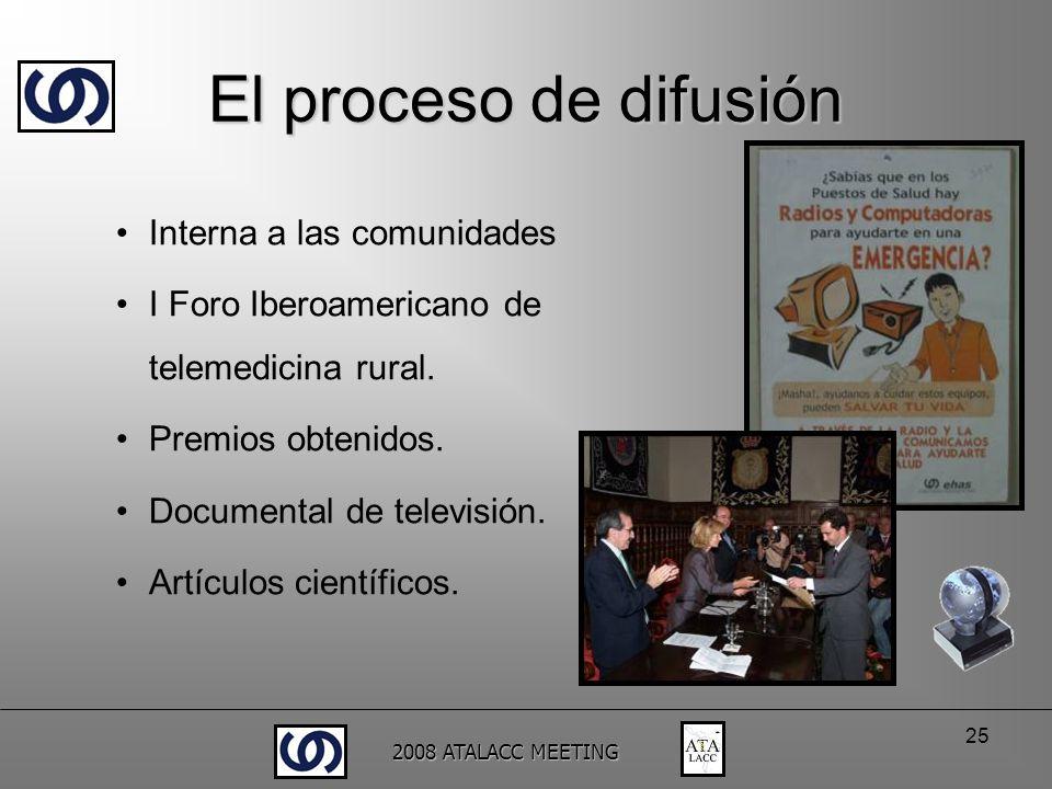 2008 ATALACC MEETING 25 Interna a las comunidades I Foro Iberoamericano de telemedicina rural. Premios obtenidos. Documental de televisión. Artículos