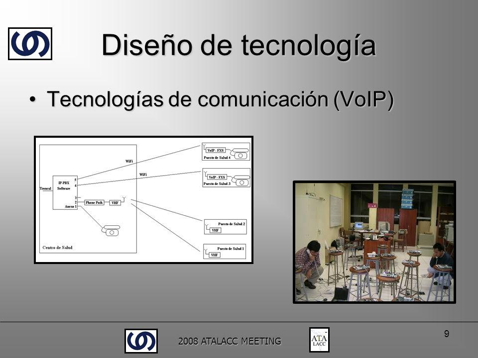 2008 ATALACC MEETING 9 Diseño de tecnología Tecnologías de comunicación (VoIP)Tecnologías de comunicación (VoIP)