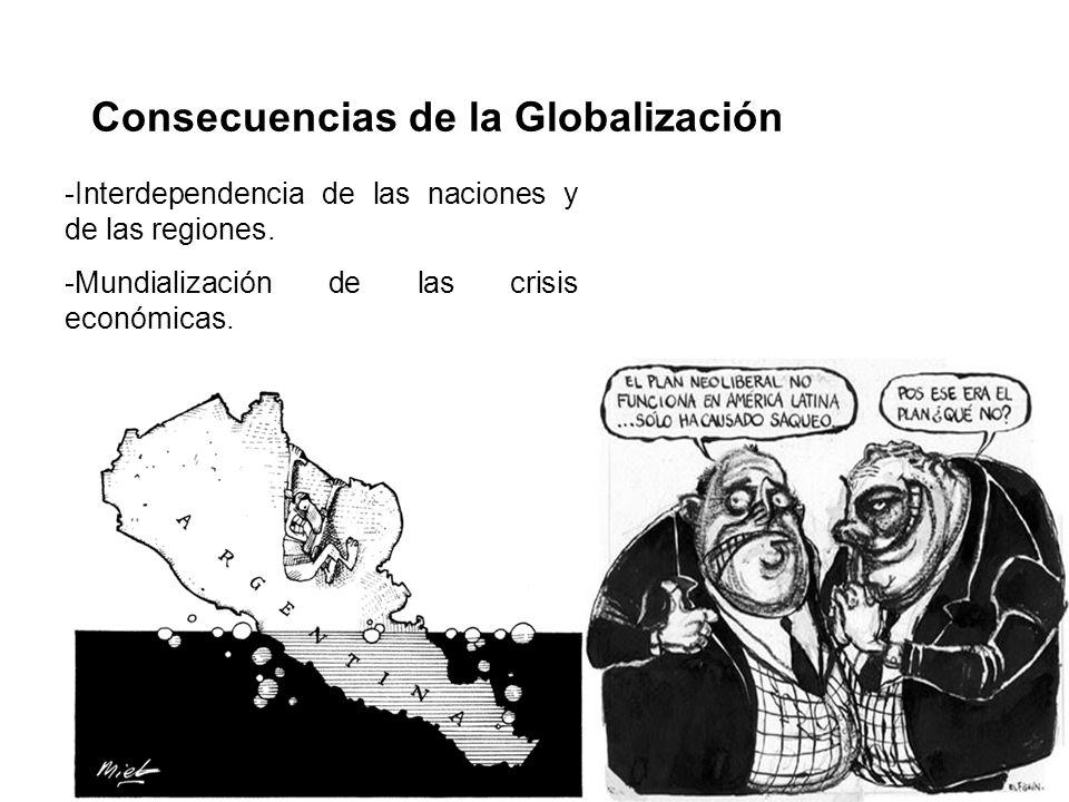 Consecuencias de la Globalización -Interdependencia de las naciones y de las regiones. -Mundialización de las crisis económicas.