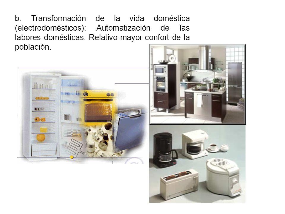 b. Transformación de la vida doméstica (electrodomésticos): Automatización de las labores domésticas. Relativo mayor confort de la población.