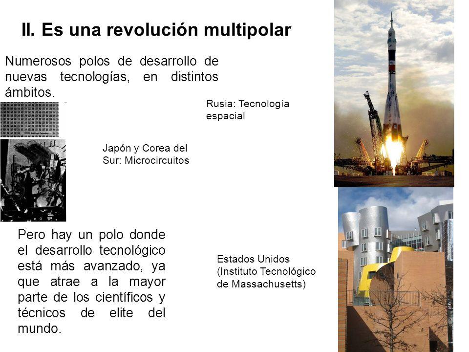 II. Es una revolución multipolar Numerosos polos de desarrollo de nuevas tecnologías, en distintos ámbitos. Pero hay un polo donde el desarrollo tecno