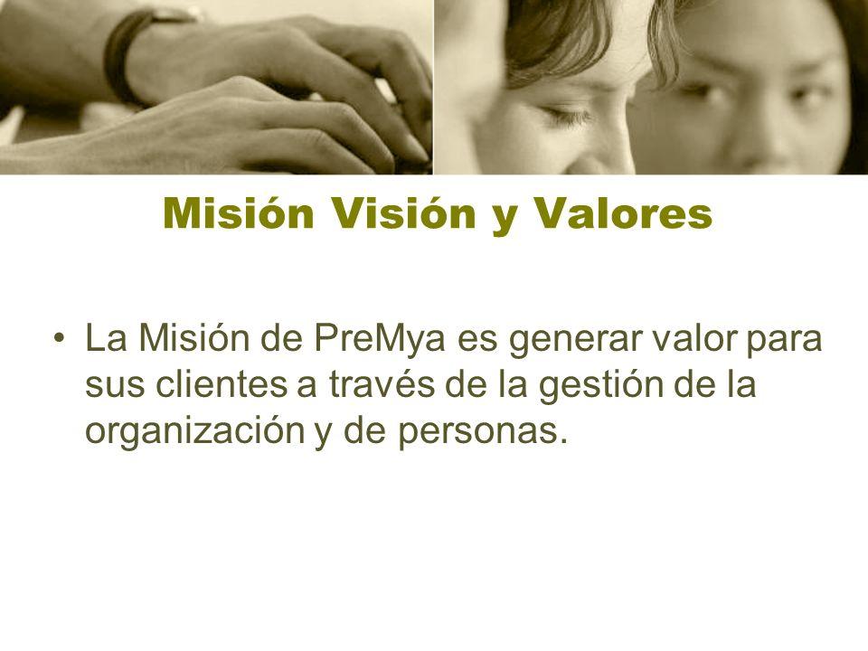 Misión Visión y Valores La Misión de PreMya es generar valor para sus clientes a través de la gestión de la organización y de personas.
