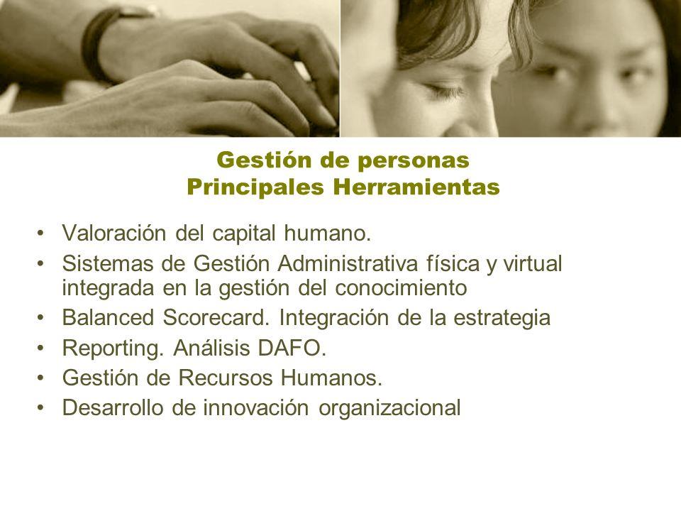 Gestión de personas Principales Herramientas Valoración del capital humano.