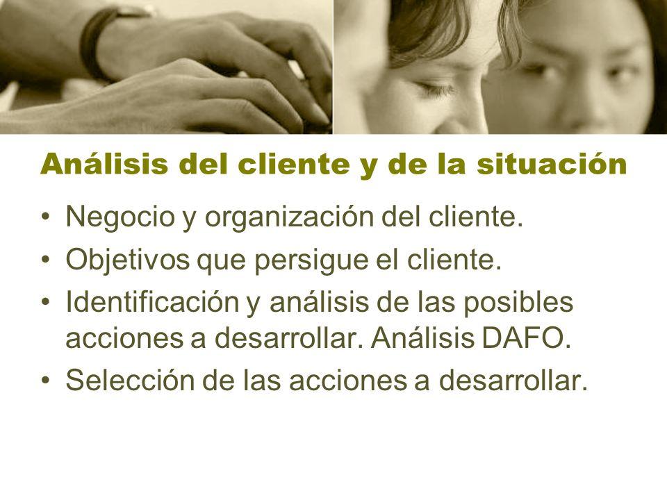 Análisis del cliente y de la situación Negocio y organización del cliente.