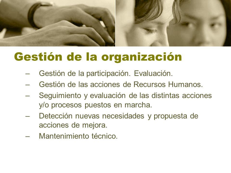 Gestión de la organización –Gestión de la participación.