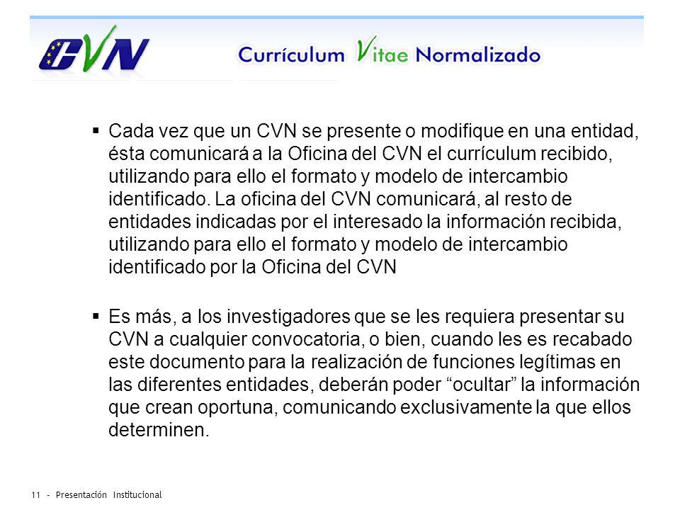 11 - Presentación Institucional Cada vez que un CVN se presente o modifique en una entidad, ésta comunicará a la Oficina del CVN el currículum recibido, utilizando para ello el formato y modelo de intercambio identificado.