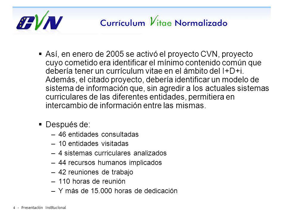 4 - Presentación Institucional Así, en enero de 2005 se activó el proyecto CVN, proyecto cuyo cometido era identificar el mínimo contenido común que debería tener un currículum vitae en el ámbito del I+D+i.