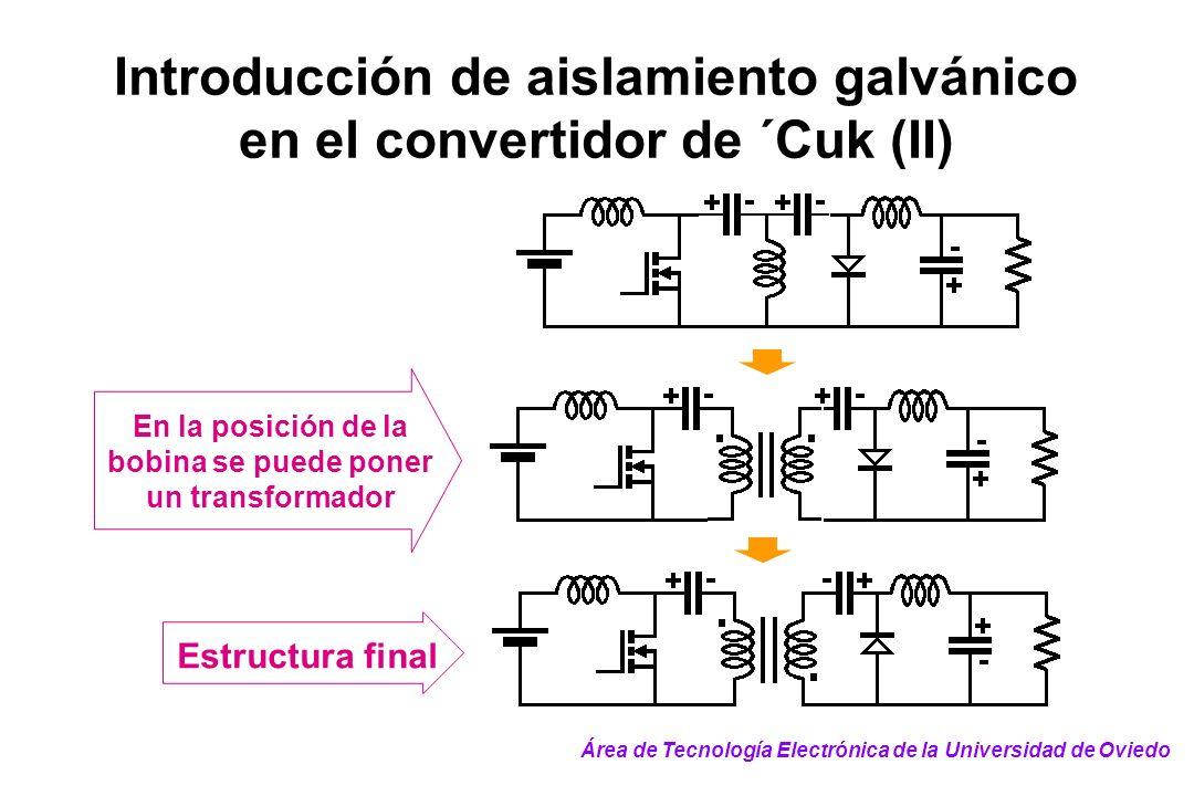 Introducción de aislamiento galvánico en el convertidor de ´Cuk (II) Estructura final En la posición de la bobina se puede poner un transformador Área