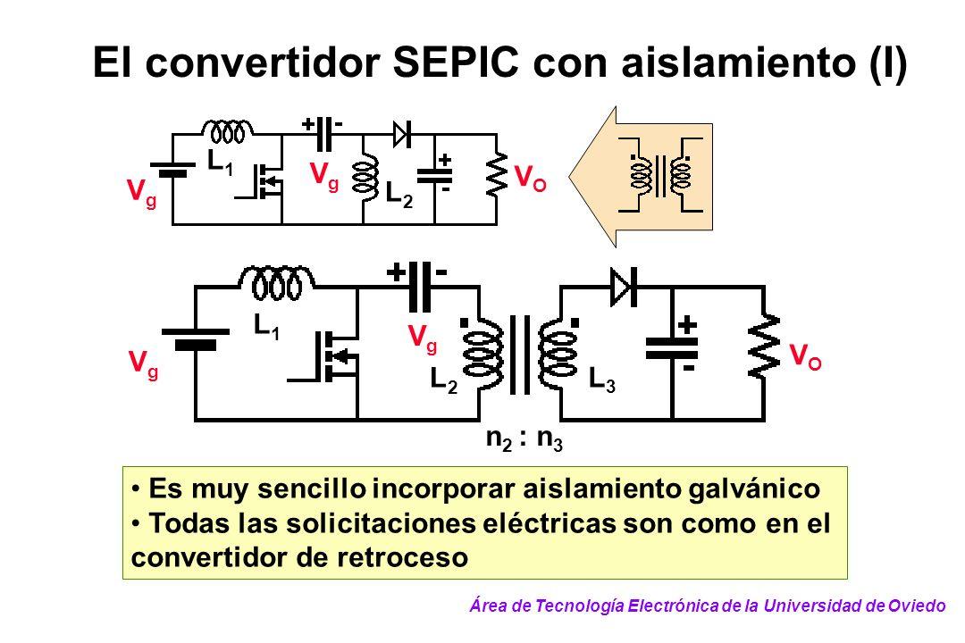 El convertidor SEPIC con aislamiento (I) VgVg VgVg VOVO L1L1 L2L2 L3L3 n 2 : n 3 Es muy sencillo incorporar aislamiento galvánico Todas las solicitaci