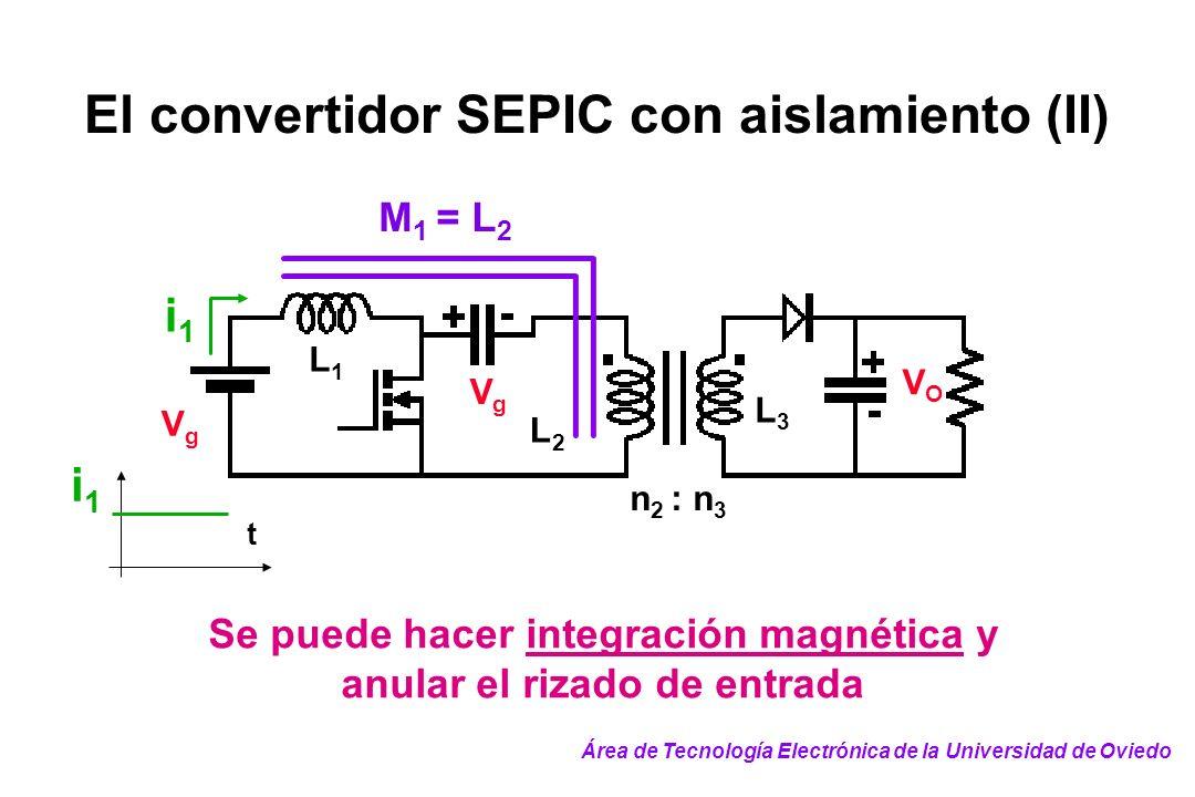 El convertidor SEPIC con aislamiento (II) t i1i1 n 2 : n 3 VgVg VgVg VOVO L1L1 L2L2 L3L3 M 1 = L 2 i1i1 Se puede hacer integración magnética y anular