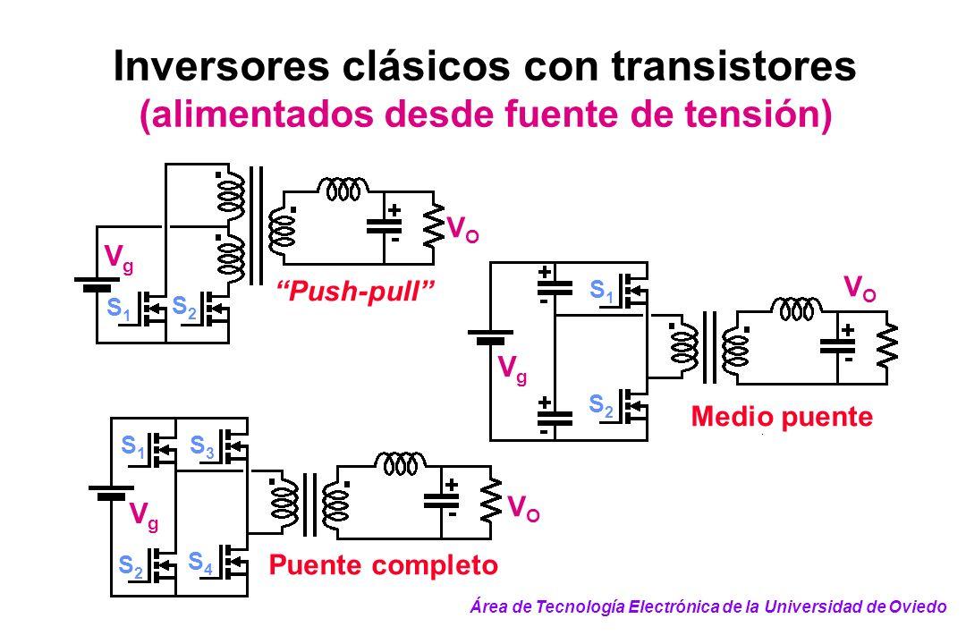 Inversores clásicos con transistores (alimentados desde fuente de tensión) VOVO VgVg S2S2 S1S1 Push-pull VOVO VgVg S2S2 S1S1 Medio puente S2S2 S1S1 Vg