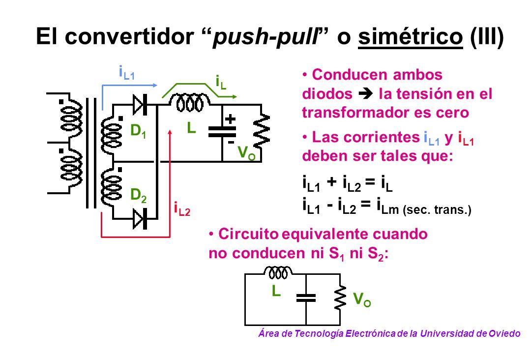 El convertidor push-pull o simétrico (III) L VOVO iLiL D1D1 D2D2 i L1 i L2 Circuito equivalente cuando no conducen ni S 1 ni S 2 : Conducen ambos diod