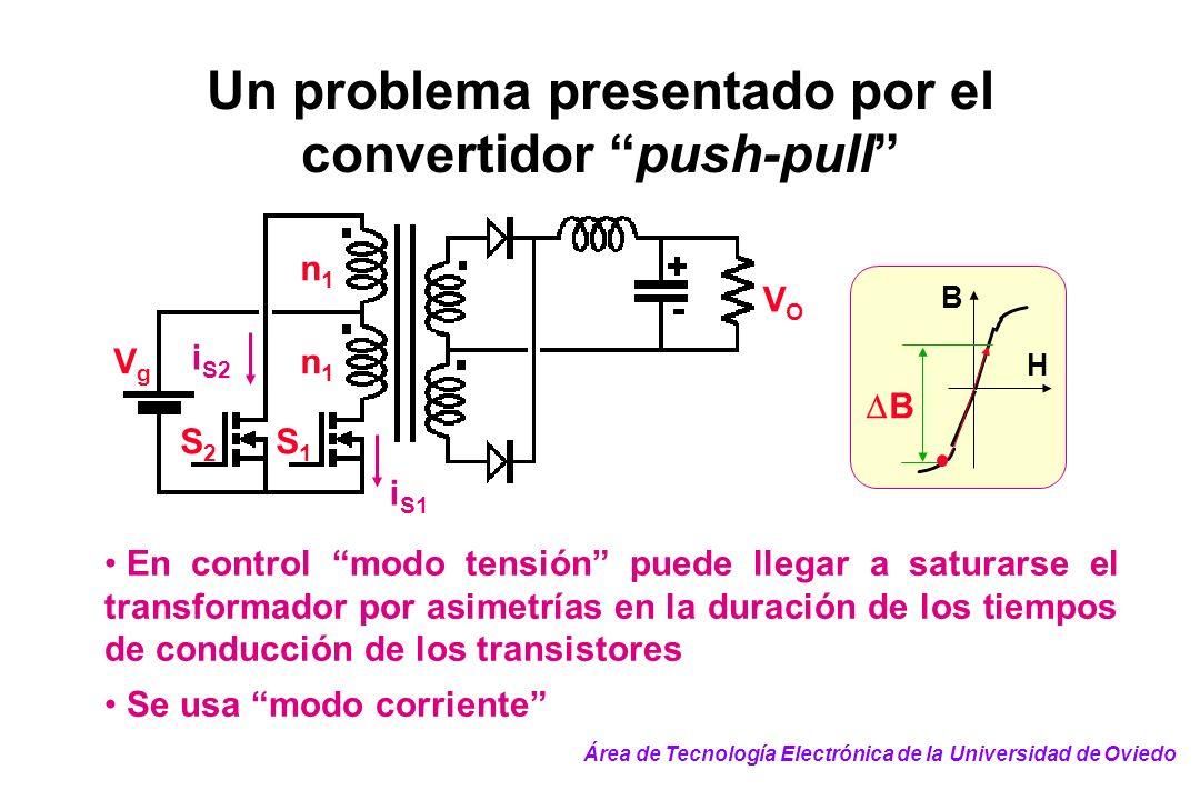 Un problema presentado por el convertidor push-pull S2S2 S1S1 n1n1 n1n1 VgVg VOVO i S1 i S2 En control modo tensión puede llegar a saturarse el transf