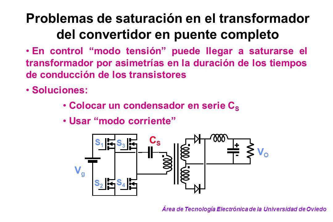 Problemas de saturación en el transformador del convertidor en puente completo En control modo tensión puede llegar a saturarse el transformador por a
